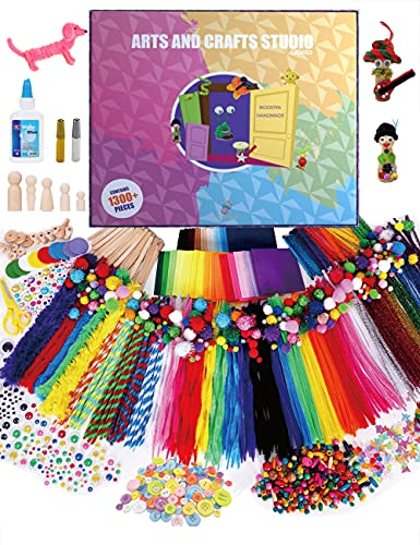 Uncle Jungo Toys Arts and Crafts Studio- 1300+ Piece Craft Kit Library - Crafting Supply Set Kits for Kids Ages 4 5 6 7 8 9 10 11 & 12 Year Old Girls & Boys - Gift Ideas for Preschool