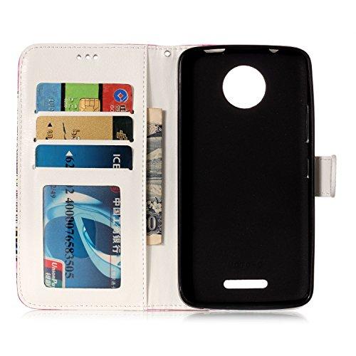 Motorola Moto C Hülle, Chreey Premium PU Leder Tasche Klapphülle 3D Muster Kreatives Design Brieftasche Handyhülle mit Magnet Kartenfächer Standfunktion Schutzhülle Bumper Etui [Mandala] Schmetterling Himmel
