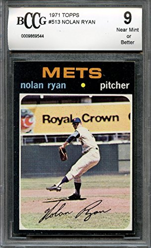 1971 topps #513 NOLAN RYAN new york mets (CENTERED) BGS BCCG 9 Graded Card