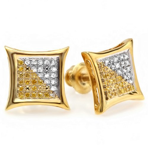0.15 Carat (ctw) 18K Yellow Gold Plated Sterling Silver White & Yellow Round Diamond Micro Pave Setting Kite Shape Stud (Pave Round Diamond Setting)