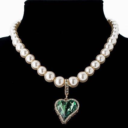 4e4e4b214574 Collar de Perlas Moda Princesa Accesorios de Vestir Aleación Melocotón  Corazón Colgante Suéter Cadena Collar Corto