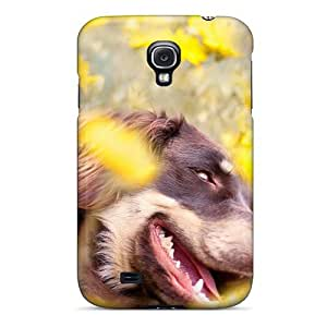 Excellent Design Yellow Flower Field Dog Phone Case For Galaxy S4 Premium Tpu Case