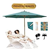 KOVAL INC. 13 Ft. Wooden Outdoor Patio Umbrella (13 FT, Green)