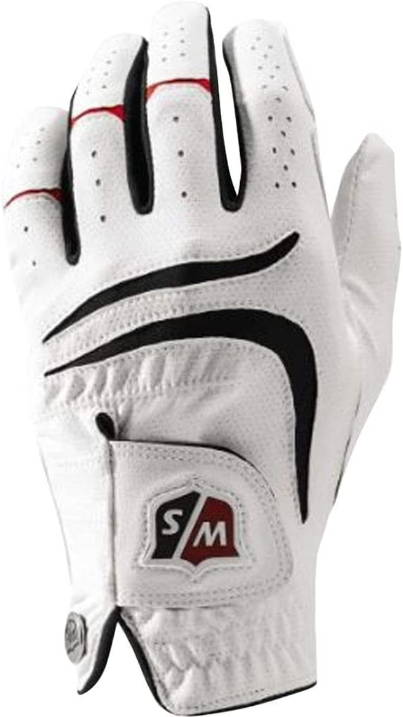 Wilson Staff Men's Grip Plus Golf Glove, Left Hand, White, X-Large