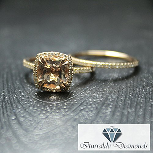 - 14k Cushion Cut Morganite Engagement Ring Double Claw Prong Diamond Pave Halo & Matching Diamond Band