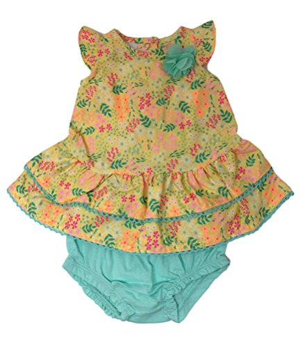 Small Wonders Baby Girl Adorable Summer Dress w/Bloomers & Shorts Sets (Yellow Floral Aqua Trim Ruffle Dress w/Bloomers, (Ruffle Trim Floral Dress)