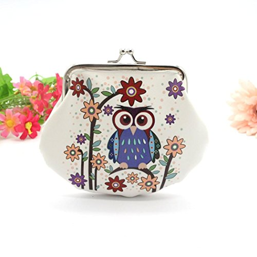 Toraway Wallet, Vintage Women Small Coin Pockets Hasp Owl Purse Clutch Wallet Bags (White #2) by Toraway (Image #1)