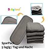 Babyfriend Bamboo Charcoal/Bamboo Charcoal Night Inserts * * * PACK OF 5* * * 5Ply Super Soft * * Nappy Liners/Pads/Booster with Suction–Impact Protection for Pants Knit Or AIO Nappies–Prefold Diaper Pocket Nappy, etc.