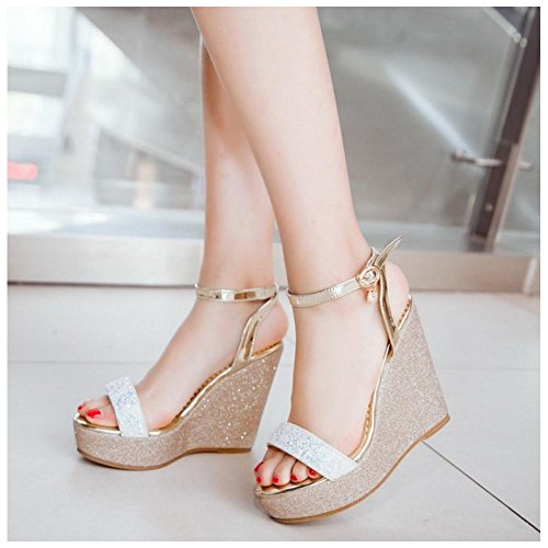 TAOFFEN Women Wedge Heel Sandals Platform White lSmAyue