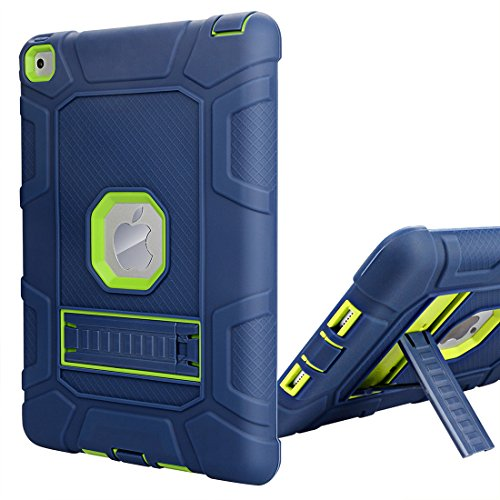 iPad Air 2 Case, WORLDMOM [Hybrid Shockproof Case] with KickStand Support Rugged Triple-Layer Heavy Duty Shock Resistant Drop Proof Case Cover for iPad Air 2 with Retina Display/iPad 6,Blue/Green by WORLDMOM