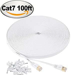 Cat 7 Ethernet Cable 100 ft flat White – Shielded (STP) Slim Long Lan Network Cable – 10GB Fastest Internet computer Patch Cable – With Snagless Rj45 Connectors – 100 feet White (30 Meters)