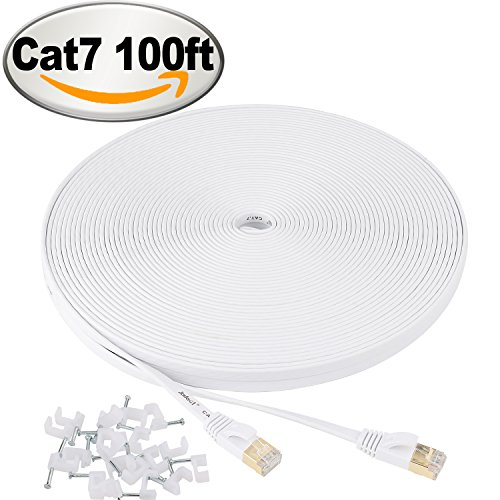 100' Computer - Cat 7 Ethernet Cable 100 ft flat White – Shielded (STP) Slim Long Lan Network Cable – 10GB Fastest Internet computer Patch Cable – With Snagless Rj45 Connectors – 100 feet White (30 Meters)