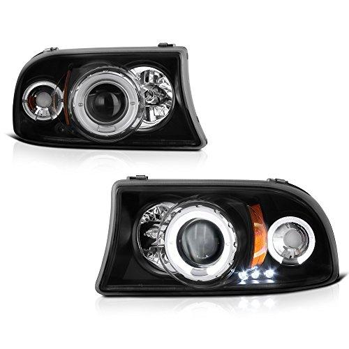 [For 1997-2004 Dodge Dakota Durango] LED Halo Ring Black Projector Headlight Headlamp Assembly, Driver & Passenger Side