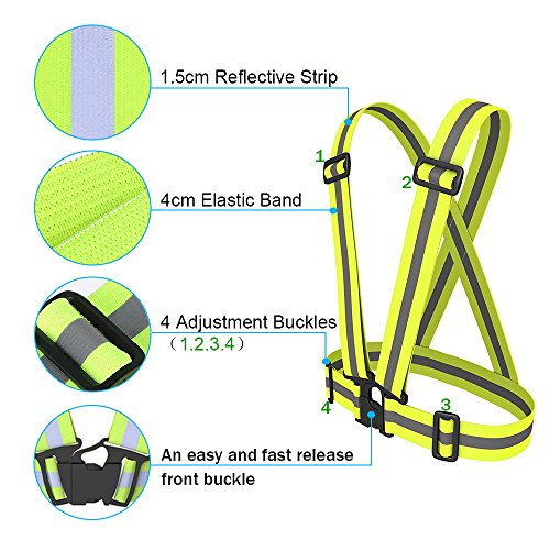 Reflective Vest Elastic & Adjustable Reflective Gear with Hi Vis Bands | High Visibility for Running,Dog Walking,Jogging,Cycling,Motorcycle Safety (2 Pack) by Sunta (Image #2)