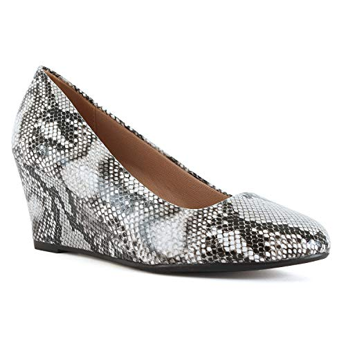 - Womens Classic Office Comfortable Soft Wedge - Mid Low Heel Round Toe Dress Pumps (9 M US, Snake Pu)