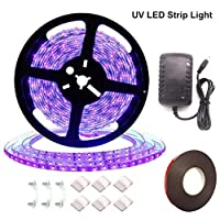 UV/Ultraviolet Black Lights LED Strip 300 LEDs 16.4Ft/5M 3528 Non-Waterproof Flexible Backlights Purple Light, for Indoor Party, Body Paint, Wedding, Work with DC12V Power Supply(Included)