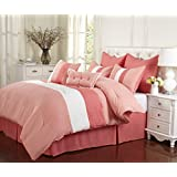 Impressions 8-Piece Luxurious Comforter King Set, Florence, Coral