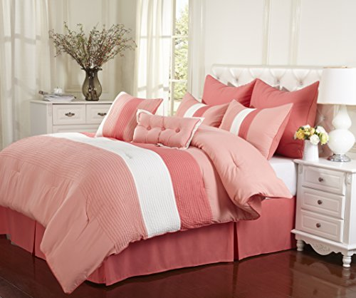 Superior 8-Piece Luxurious Florence Comforter Set, Beautiful Pleated Bed-in-a-Bag, Queen, Coral