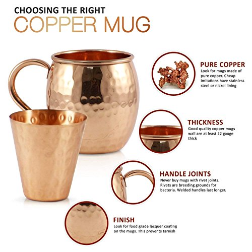 Pure Copper Moscow Mule Mugs (Set of 8) by Mule Science with BONUS: Highest Quality Cocktail Copper 8 Straws, 2 Shot glasses and 8 coasters! by Advanced Mixology (Image #3)