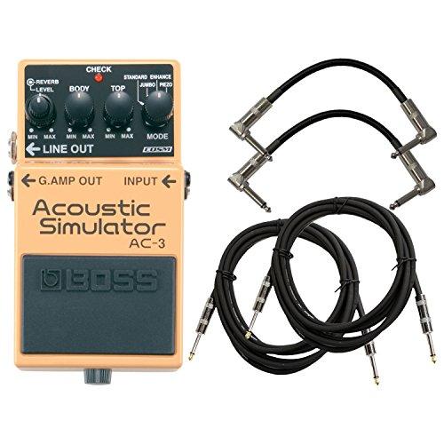 BOSS AC-3 Acoustic Simulator Pedal Bundle w/4 Free Cables