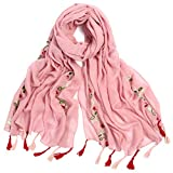 Women's Lightweight National Style Embroider Fashion Scarf Soft Cotton Shawls Wraps Long Scarves With Tassel for Winter Wedding Evening Pink