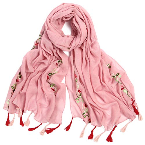Women's Lightweight National Style Embroider Fashion Scarf Soft Cotton Shawls Wraps Long Scarves With Tassel for Winter Wedding Evening Pink by Muryobao