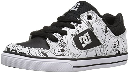 DC Kids' Pure X AT Sneaker, Black/White Print, 2 M US Little Kid