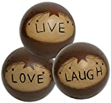 CWI Gifts Live Love Laugh Decorative Wooden Ball Accents (Set of 3), 4″ For Sale
