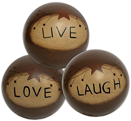 CWI Gifts 4'' Set of Three Live Love Laugh Decorative Wooden Ball Accents, 4''