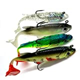 ROKOO 4pcs Arrive 8cm 14g Soft Bait Lead Head Sea Fish Lures Fishing Tackle Sharp Treble Hook T Tail