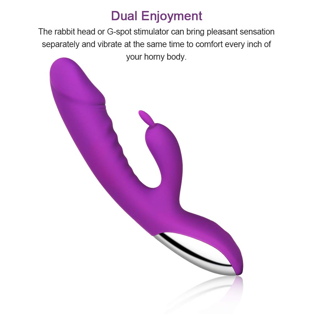 Waterproof Dildo Vibrator Clit Stimulator with 10 Strong Vibration Modes Quiet Dual Motor for Effortless Insertion, Rechargeable G Spot Rabbit Vibrator with Bunny Ears for Clitoris Stimulation