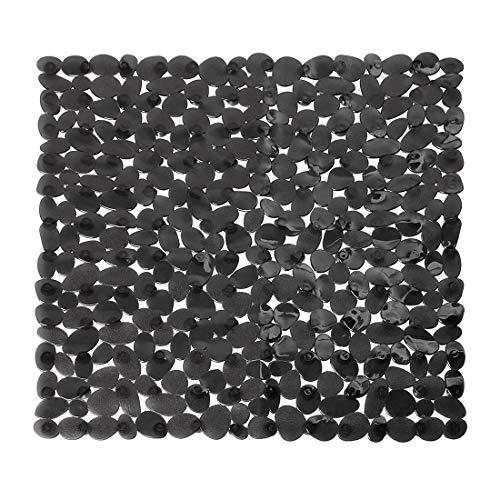(Bverionant Bath Mat Non-Slip Square Cobblestone Shower Safety Mats Antiskid 21.26x21.26 (Black))