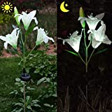 Homeleo White Solar Lily Flower Stake Light, Solar Powered Easter Lily Flowers Light for Garden Outdoor Decoration(White)