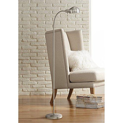 Ridley Modern Gooseneck Floor Lamp Tall Satin Nickel Adjustable Arm for Living Room Reading Bedroom Office - 360 Lighting (Floor Gooseneck Reading Lamp)