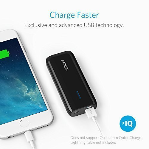 Anker Astro E1 5200mAh Candy bar-Sized Ultra Compact Portable Charger (External Battery Power Bank) with High-Speed Charging PowerIQ Technology (Black) by Anker (Image #3)