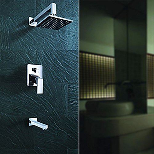 Lightinthebox Wall Mount One Handle Contemporary Chrome Finish Square Fixed Rainfall Shower Head Bathroom Shower Set Mixer Taps Lavatory Bath Single Handle Shower System (Shower Handle One Mixer)