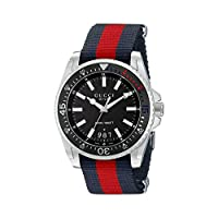 Gucci Men's Swiss Quartz Stainless Steel and Nylon Dress Black Watch(Model: YA136210)