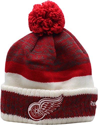 Detroit Red Wings Bulky Logo Block Cuffed Pom Knit Hat-10495