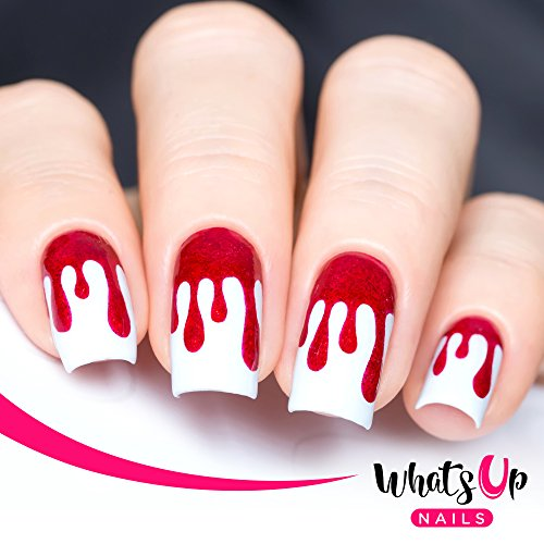 Whats Up Nails - Dripping Vinyl Stencils for Nail Art Design (2 Sheets, 72 Stencils Total)]()
