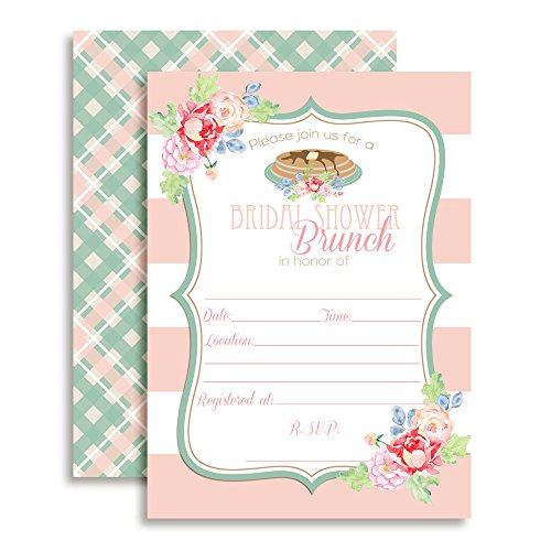 Amanda Creation Bridal Shower Brunch Floral Bridal Shower Fill in Invitations Set of 20 Including envelopes]()