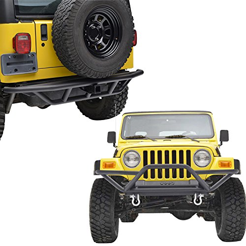 E-Autogrilles-87-06-Jeep-Wrangler-TJYJ-Black-Textured-Tubular-Off-Road-Front-Bumper-and-Rear-Bumper-with-2-inch-Hitch-Receiver-51-000051-0003