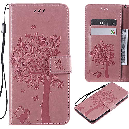XYX Emboss Tree Cat PU Wallet Leather Flip Folio Case for Huawei Honor 10 Lite/P Smart 2019 (Pink) (Best Rewards Credit Card 2019)