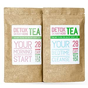 28 Day Teatox: Detox Skinny Herb Tea - Body Cleanse / Reduce Bloating / Natural Weight Loss Tea / Speed up your Metabolism / Appetite Suppressant / 100% NATURAL