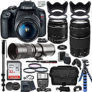 Canon EOS Rebel T7 DSLR Camera with EF-S 18-55mm is II, EF 75-300mm III, Ultimaxx 420-800mm Preset Telephoto Zoom Lens…