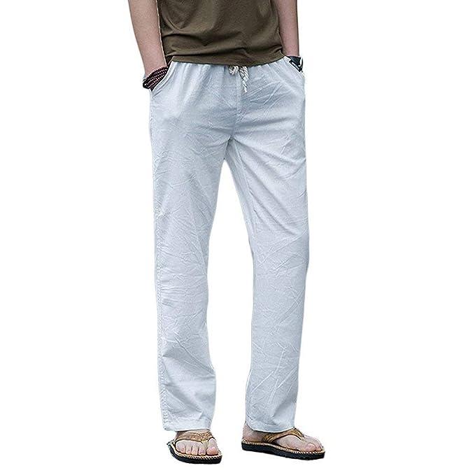 BoBoLily Pantalones De Lino De Los Hombres De Verano Largo Casual Pantalones De Playa Pantalones De Lino Hombres Hombres Pantalones Casuales Pantalones ...