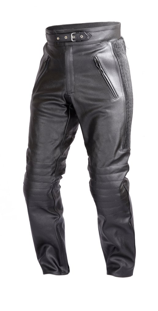 Mens Motorcycle Black Leather Pants with CE Rated 4 Piece Armor PT55 (M)