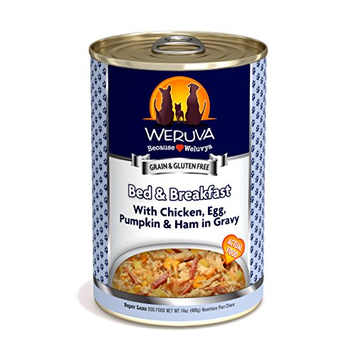 Weruva Classic Dog Food, Bed & Breakfast with Chicken, Egg, Pumpkin & Ham in Gravy, 14oz Can (Pack of 12) ()
