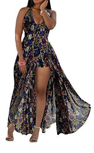 Allonly Femmes Licol Superposition V Cou Dos Nu Avant Divisée Bohême Floral En Mousseline De Soie Imprimé Robe Maxi Plage Courte Barboteuses Salopette Bleu