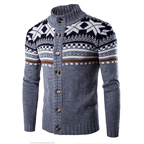 Mens Sweater,Neartime Men's Winter Jacket Warm Tops Wool Shirt (M, Gray)