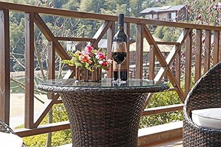 Salón de jardín balcón en, Resina Trenzada Marrón 2 Silla ...